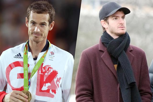 <p>British tennis player Andy Murray (left) and The Social Network actor Andrew Garfield (right). </p>