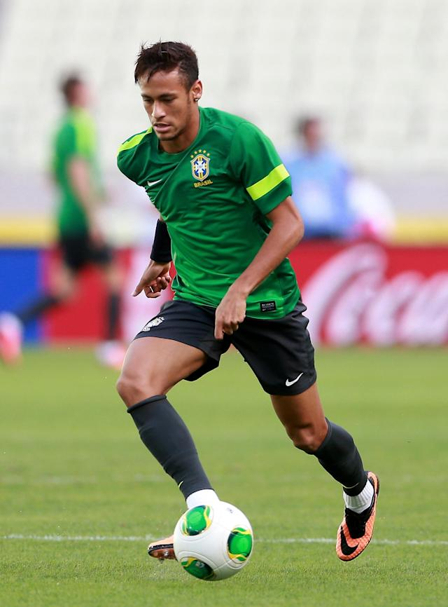 FORTALEZA, BRAZIL - JUNE 18: Neymar of Brazil during a training session ahead of their FIFA Confederations Cup 2013 match with Mexico at Estadio Castelao on June 18, 2013 in Fortaleza, Brazil. (Photo by Scott Heavey/Getty Images)