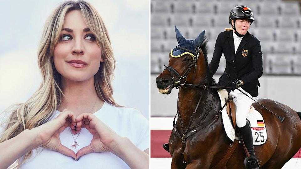 This image shows Haley Cuoco (left) and the horse at the centre of the modern pentathlon controversy.