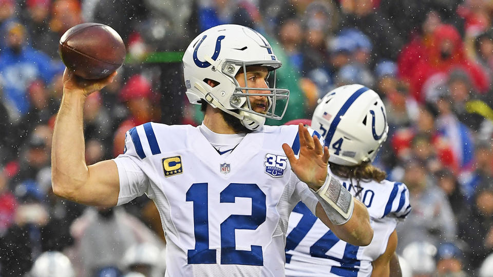Quarterback Andrew Luck #12 of the Indianapolis Colts throws a pass during the first half of the AFC Divisional Round playoff game against the Kansas City Chiefs at Arrowhead Stadium on January 12, 2019 in Kansas City, Missouri. (Photo by Peter G. Aiken/Getty Images)