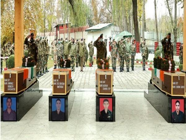 Indian Army pays tribute to soldiers who lost their lives during ceasefire violation by Pakistan in Gurez and Uri Sector in Jammu and Kashmir on 13th November