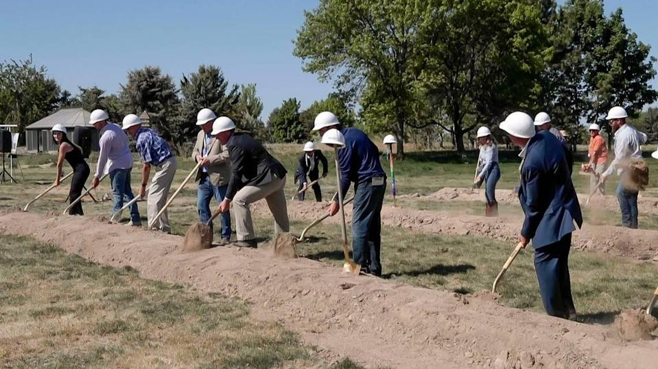 Supporters of Idaho Youth Ranch join in Thursday's ground-breaking ceremony.