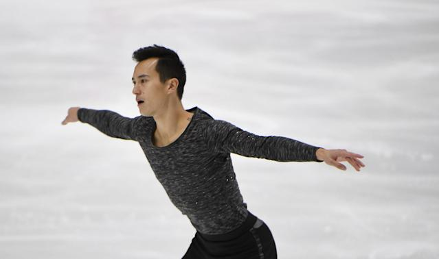 Patrick Chan of Canada performs during the men's free skating at the Finlandia Trophy competition in Espoo, Finland, October 9, 2016. Lehtikuva/Martti Kainulainen/via REUTERS ATTENTION EDITORS - THIS IMAGE WAS PROVIDED BY A THIRD PARTY. FOR EDITORIAL USE ONLY. NO THIRD PARTY SALES. NOT FOR USE BY REUTERS THIRD PARTY DISTRIBUTORS. FINLAND OUT. NO COMMERCIAL OR EDITORIAL SALES IN FINLAND.