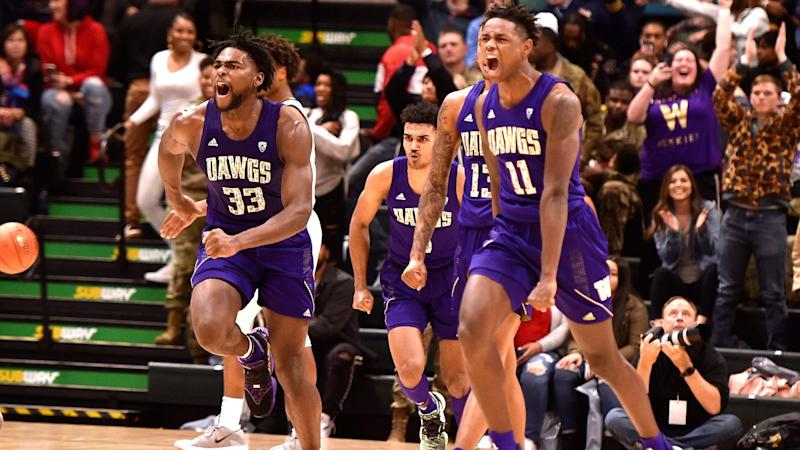 Washington's freshman forward, Isaiah Stewart played very well down the stretch in the second half to lead his team to a win over Baylor.  (Photo: Lance King/Getty Images via Yahoo Sports.)