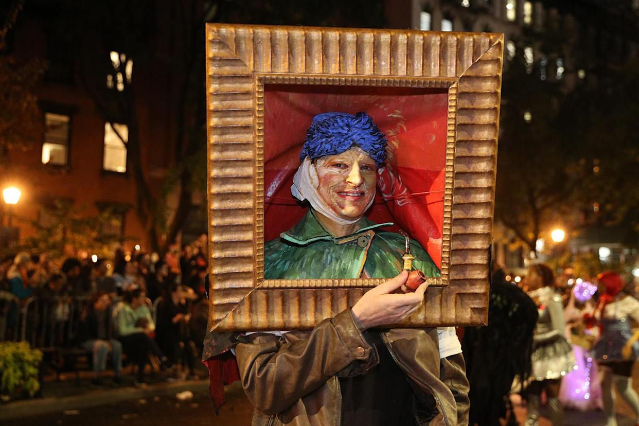 A man dressed as a Vincent Van Gogh painting marches in the Village Halloween Parade in New York City. (Photo: Gordon Donovan/Yahoo News)