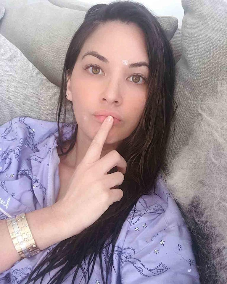 """<p>""""Thank God I stockpiled pimple cream,"""" joked the <em>Predator</em> actress, tending to her <a href=""""https://www.instagram.com/p/B93D04lg36r/"""">skincare in bed</a> while practicing social distancing.</p>"""
