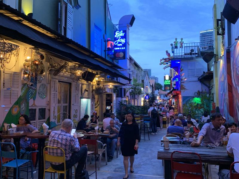 Blue Jaz Cafe bar and restaurant between Haji Lane and Beach Road in Kampong Glam on 31 October 2018. (Photo: Teng Yong Ping/Yahoo Lifestyle Singapore)