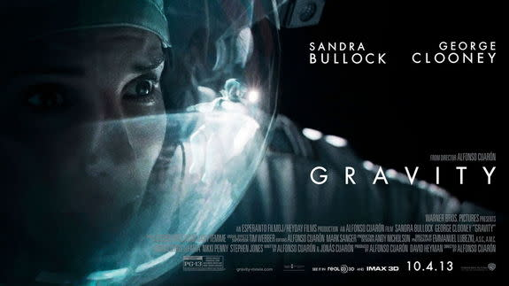 Gravity is an upcoming drama film directed by Alfonso Cuarón. The film stars Sandra Bullock and George Clooney as surviving astronauts in a damaged space station.