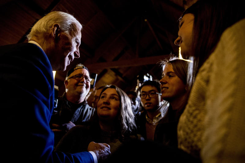 Democratic presidential candidate former Vice President Joe Biden speaks to members of the audience at a campaign stop at Simpson College, Saturday, Jan. 18, 2020, in Indianola, Iowa. (AP Photo/Andrew Harnik)
