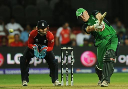 Ireland's Kevin O'Brien bats against England at the 2011 World Cup in India