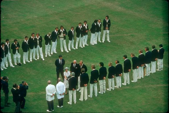 HM The Queen meets David Steele, accompanied by Tony Greig, Gubby Allen and Jack Bailey, England v Australia, 2nd Test, Lord's, July 1975.  (Photo by Patrick Eagar/Patrick Eagar Collection via Getty Images)