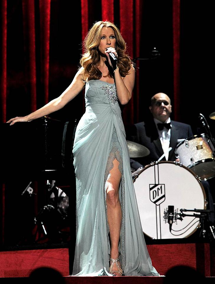 """Celine Dion made a triumphant return to The Colosseum at Caesars Palace in Las Vegas, Nevada, on Tuesday night. The Canadian chanteuse opened the extravaganza in a strapless Elie Saab sensation, which featured a bedazzled brooch and thigh-high slit. Denise Truscello/<a href=""""http://www.wireimage.com"""" target=""""new"""">WireImage.com</a> - March 15, 2011"""