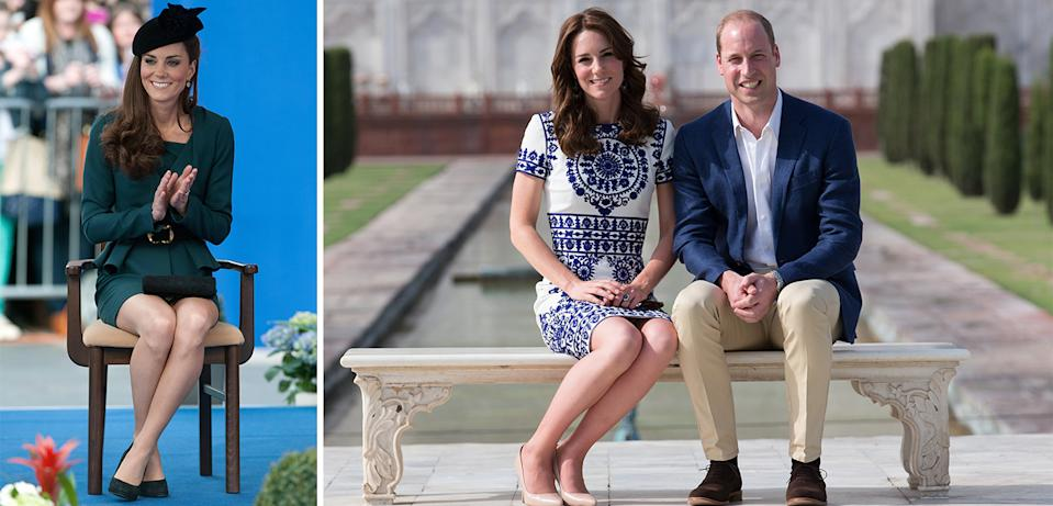 The Duchess of Cambridge often sits with her ankles crossed, or her legs slanted to one side [Photo: Getty]