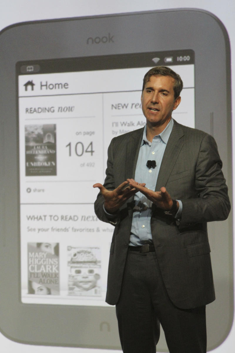 Barnes and Noble Chief Executive Officer William Lynch gestures during a news conference to introduce the new nook, Tuesday, May 24, 2011, in New York.  (AP Photo/Mary Altaffer)