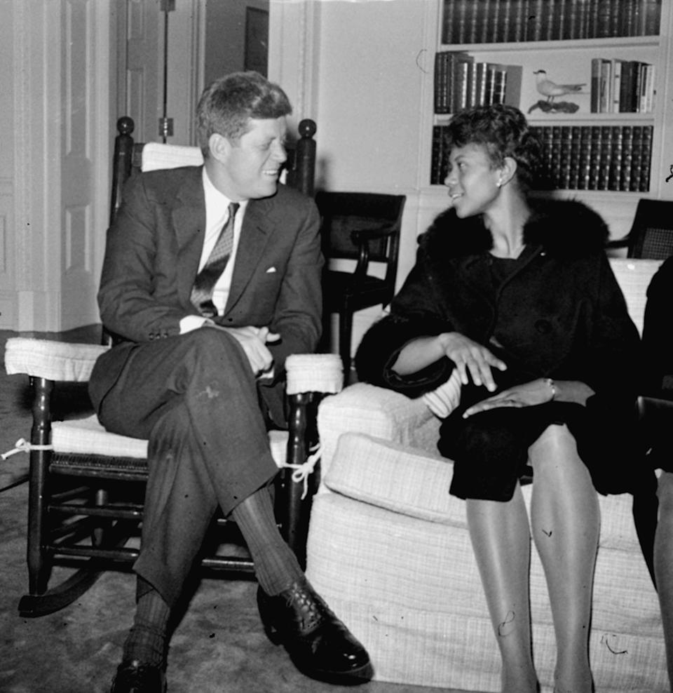President Kennedy chats in his White House office on April 14, 1961, with Wilma Rudolph
