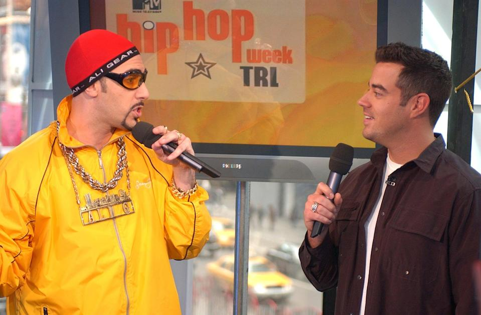 <p>Ali G chatted with Carson Daly on <b>TRL</b> in 2003.</p>