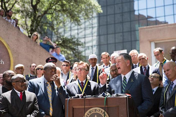 """Dallas Mayor Mike Rawlings urged Americans to """"step up"""" to heal the country's racial wounds (AFP Photo/Laura Buckman)"""