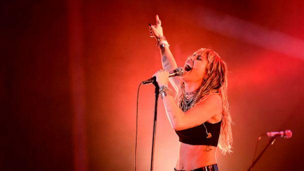 PHOTO: Miley Cyrus performs on stage during a concert at the Sunny Hill Festival in Pristina, Kosovo, August 2, 2019. (Armend Nimani/AFP/Getty Images)