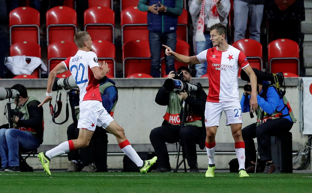 Soccer Football - Europa League - SK Slavia Prague vs Maccabi Tel Aviv - Eden Arena, Prague, Czech Republic - September 14, 2017   Slavia Prague's Tomas Necid celebrates scoring their first goal with Tomas Soucek    REUTERS/David W Cerny