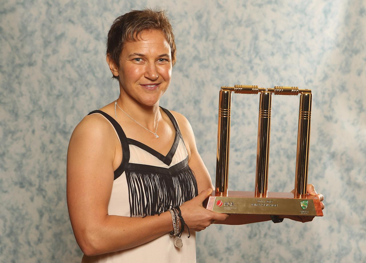 MELBOURNE, AUSTRALIA - FEBRUARY 27:  Shelley Nitschke poses with the Belinda Clarke Award trophy during the 2012 Allan Border Medal Awards at Crown Palladium on February 27, 2012 in Melbourne, Australia.  (Photo by Lucas Dawson/Getty Images)