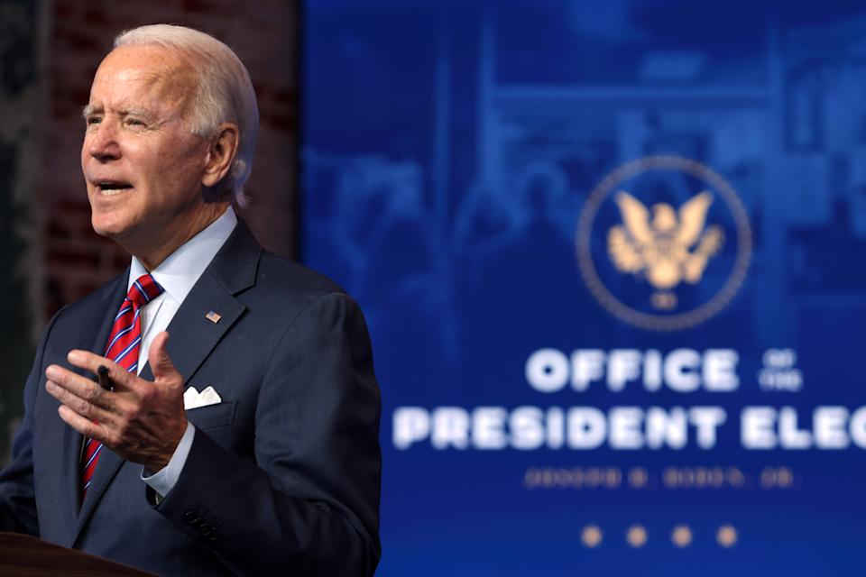 WILMINGTON, DELAWARE - DECEMBER 04: U.S. President-elect Joe Biden speaks on November job numbers at the Queen theater December 4, 2020 Wilmington, Delaware. U.S. economy added 245,000 jobs in November and pushed the unemployment rate to 6.7% from 6.9% in October. (Photo by Alex Wong/Getty Images)