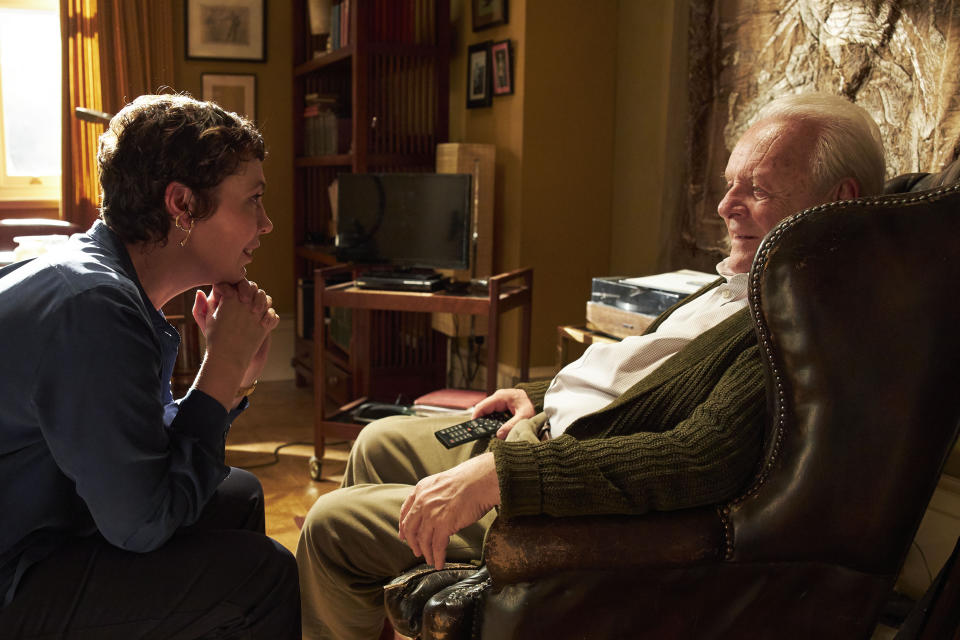 """This image released by Sony Pictures Classics shows Olivia Colman, left, and Anthony Hopkins in a scene from """"The Father."""" (Sean Gleason/Sony Pictures Classics via AP)"""
