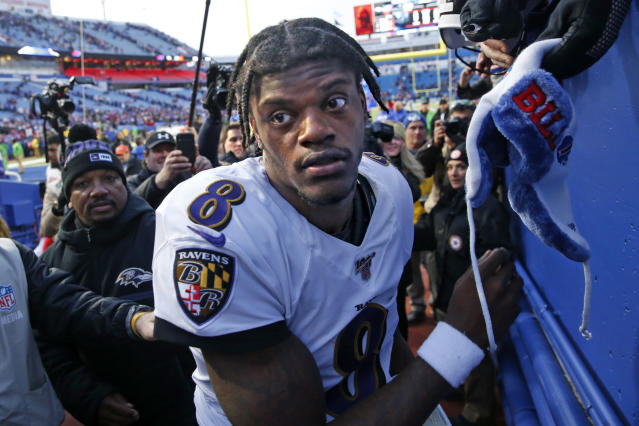 Lamar Jackson promoted the play day in a South Florida park as recently as Monday night. (AP Photo/John Munson)
