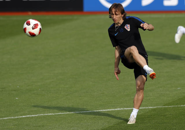 Croatia's Luka Modric kicks a ball during a training session of Croatia at the 2018 soccer World Cup in Moscow, Russia, Saturday, July 14, 2018. (AP Photo/Darko Bandic)