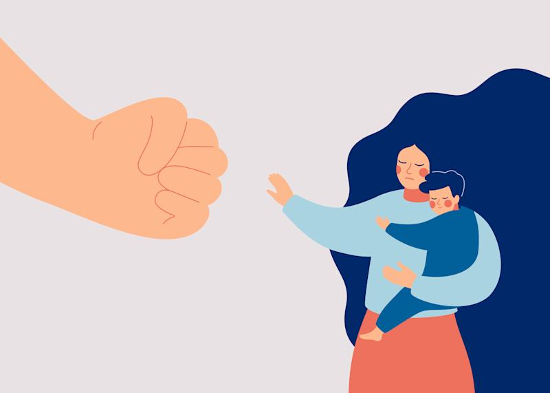 Strong mother protects her child from danger. Stop violence against children. A big fist threatens a woman and her baby. Vector illustration