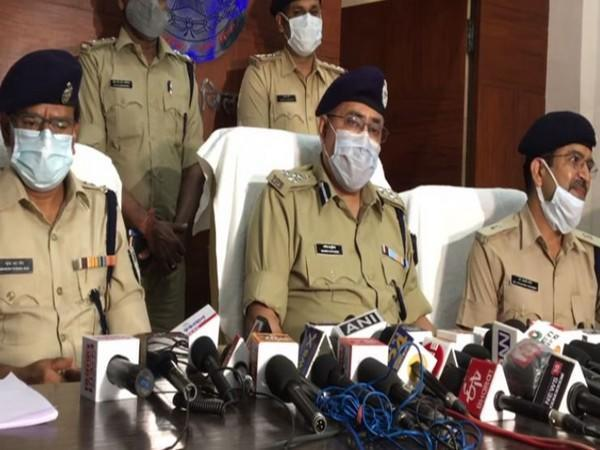 Indore SP West Mahesh Chandra Jain addressing a press conference in Indore on Saturday. [Photo/ANI]