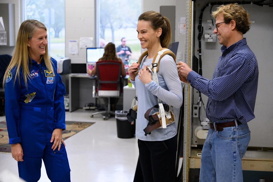 "<div class=""caption"">Swank and Nyberg at the Johnson Space Center in February 2020</div><cite class=""credit"">BILL STAFFORD/NETFLIX</cite>"
