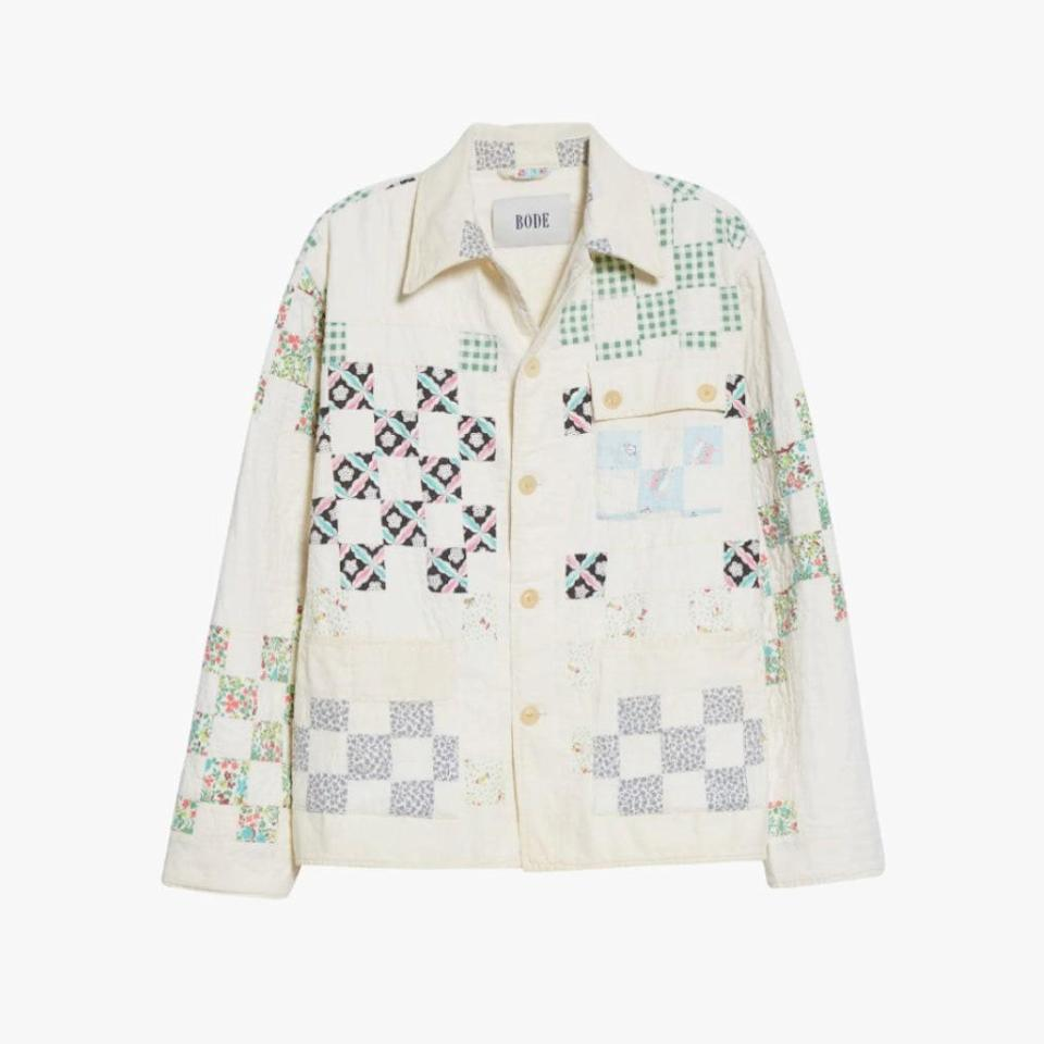 """This one-of-a-kind workwear jacket by Bode is repurposed from vintage quilts, making it the ideal jacket for fall as we continue to leave our blankets behind and re-emerge wrapped up in coats instead. $1554, NORDSTROM. <a href=""""https://www.nordstrom.com/s/bode-one-of-a-kind-reworked-feedsack-quilt-workwear-jacket/5453300?origin=category-personalizedsort&breadcrumb=Home%2FDesigner%2FSPACE%3A%20Emerging%20%26%20Advanced%20Designer%2FShop%20All&color=multi"""" rel=""""nofollow noopener"""" target=""""_blank"""" data-ylk=""""slk:Get it now!"""" class=""""link rapid-noclick-resp"""">Get it now!</a>"""