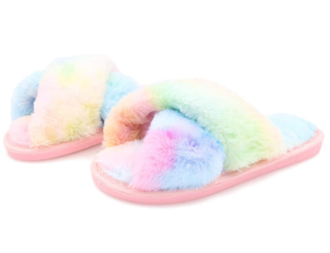 Topgalaxy.Z Fuzzy Slippers in rainbow