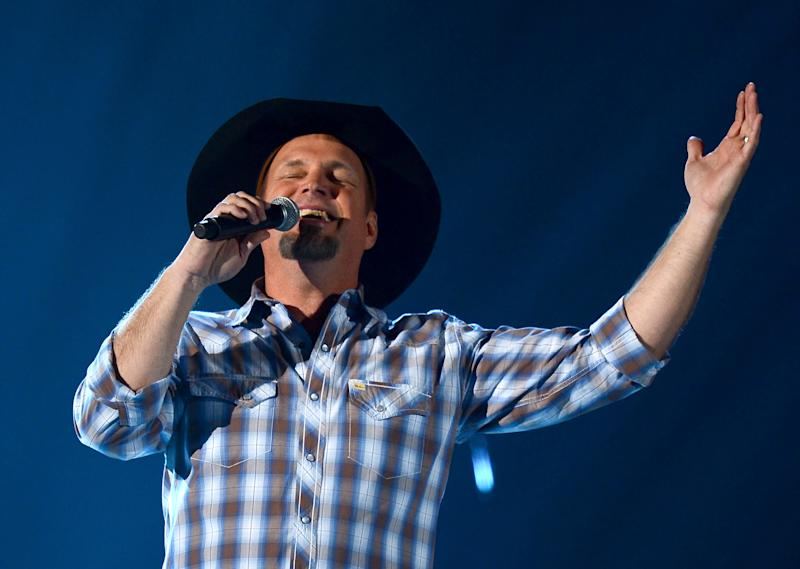 Singer Garth Brooks onstage during the 48th Annual Academy of Country Music Awards at the MGM Grand Garden Arena in Las Vegas, Nevada on April 7, 2013