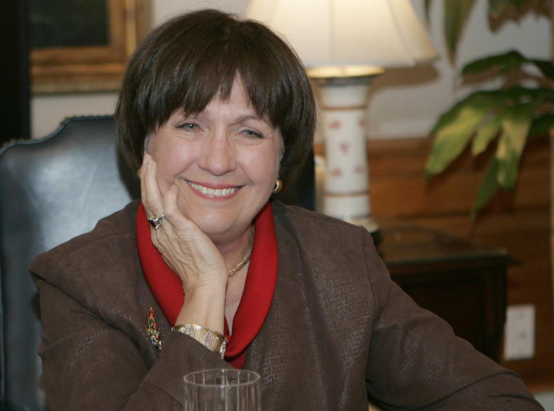 FILE - In this Dec. 18, 2007, file photo, Louisiana Gov. Kathleen Blanco conducts an interview in her office Baton Rouge, La. Louisiana Gov. John Bel Edwards' office confirmed former Louisiana Gov. Kathleen Babineaux Blanco, who became the state's first female elected governor, died Sunday, Aug. 18, 2019. She was 76.  (AP Photo/Bill Haber, File)