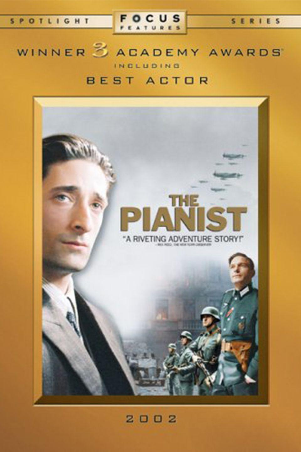 """<p><a class=""""link rapid-noclick-resp"""" href=""""https://www.amazon.com/Pianist-Adrien-Brody/dp/B000FVQLRA/?tag=syn-yahoo-20&ascsubtag=%5Bartid%7C10067.g.15907978%5Bsrc%7Cyahoo-us"""" rel=""""nofollow noopener"""" target=""""_blank"""" data-ylk=""""slk:Watch Now"""">Watch Now</a> </p><p>An adaptation of Wladyslaw Szpilman's autobiography, <em>The Pianist</em> follows a glamorous Jewish musician who is forced into the Warsaw Ghetto, separated from his family, and made to hide in various locations in the city's ruins during the German occupation of Poland during World War II.</p>"""
