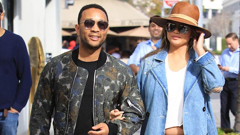 Pregnant Chrissy Teigen Flashes Bare Baby Bump in Short Shorts: Pic!