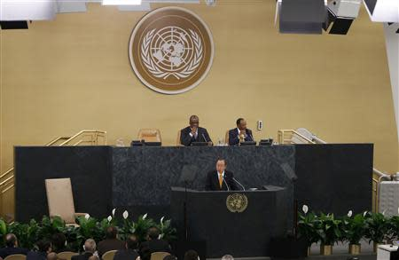 U.N. Secretary-General Ban addresses the start of the 68th United Nations General Assembly in New York