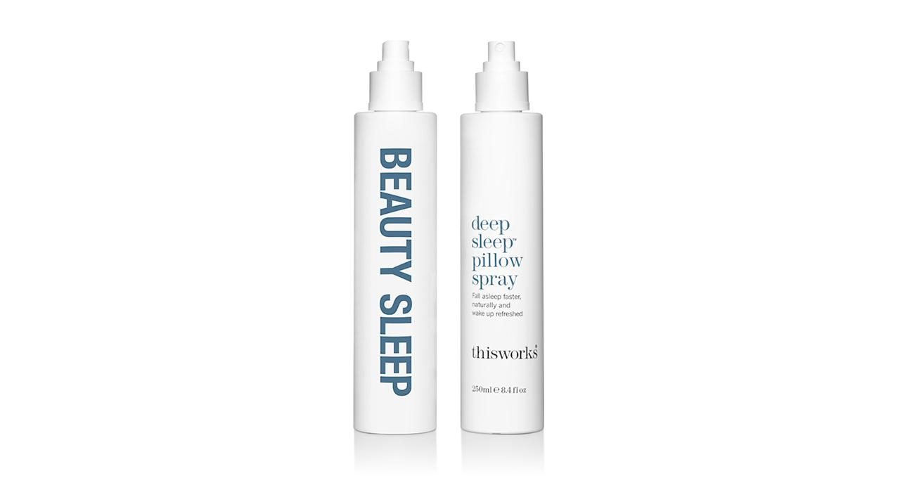 """<p>This Works is renowned for its failsafe products and our go-to has to be the brand's pillow spray. Spray before dipping beneath the sheets for clinically-proven results. <em><a rel=""""nofollow"""" href=""""https://www.thisworks.com/deep-sleep-pillow-spray.html"""">This Works</a>, £18</em> </p>"""
