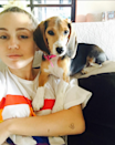 <p>Miley is basically the queen on makeup free selfies, and we love her for it. Bonus points for including a puppy in this one!</p>