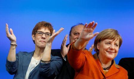 Kramp-Karrenbauer, State Minister-President and top candidate of the Christian Democratic Union Party (CDU) and German Chancellor Merkel attend an election rally for the upcoming state elections in the Saarland in St. Wendel