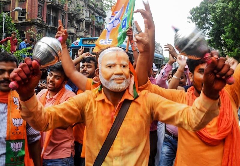 "Supporters called for India -- officially a secular country -- to become a ""Hindu nation"" (AFP Photo/Dibyangshu SARKAR)"