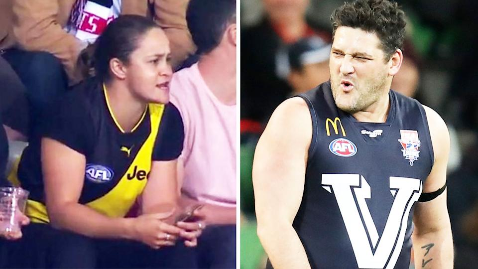 Carlton legend Brendan Fevola (pictured right) during the AFL legends game and tennis star Ash Barty (pictured left) at a Richmond game