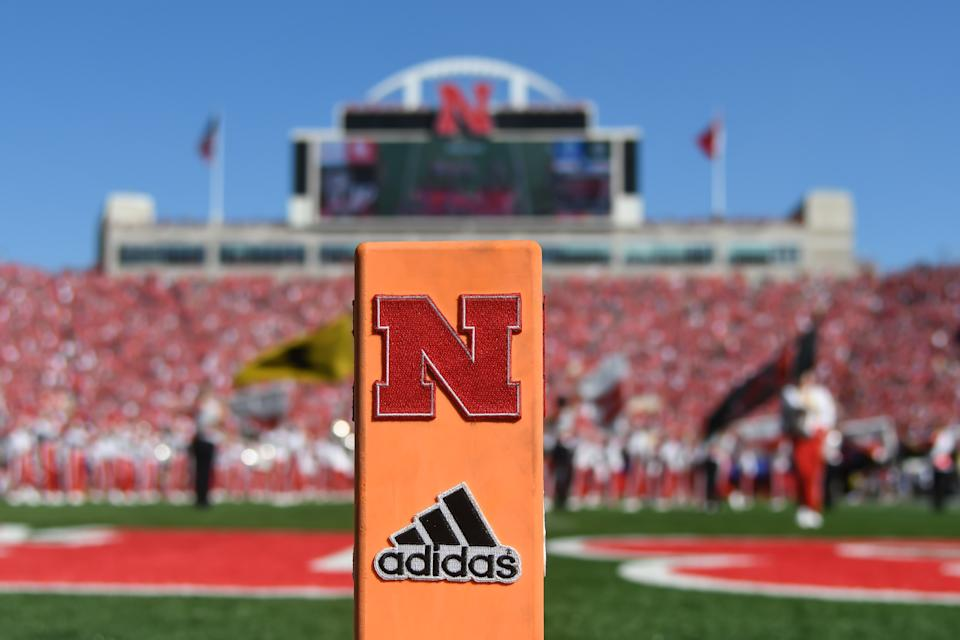 LINCOLN, NE - SEPTEMBER 15: General view of the end zone marker before the game between the Nebraska Cornhuskers and the Troy Trojans at Memorial Stadium on September 15, 2018 in Lincoln, Nebraska. (Photo by Steven Branscombe/Getty Images)