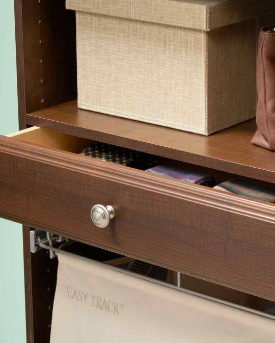 <p>Closet drawers are a lifesaver. Adding a custom drawer kit to your closet creates a convenient space to store belts, socks, and other odds and ends that would otherwise create clutter.</p>
