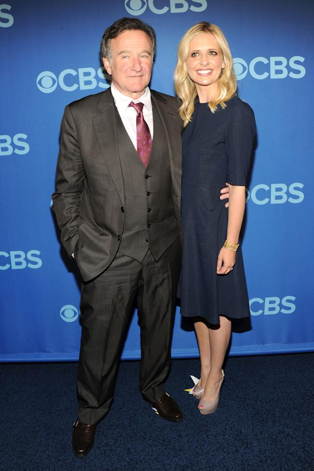 NEW YORK, NY - MAY 15:  (L-R) Cast members of The Crazy Ones Robin Williams and Sarah Michelle Gellar attend CBS 2013 Upfront Presentation at The Tent at Lincoln Center on May 15, 2013 in New York City.  (Photo by Ben Gabbe/Getty Images)