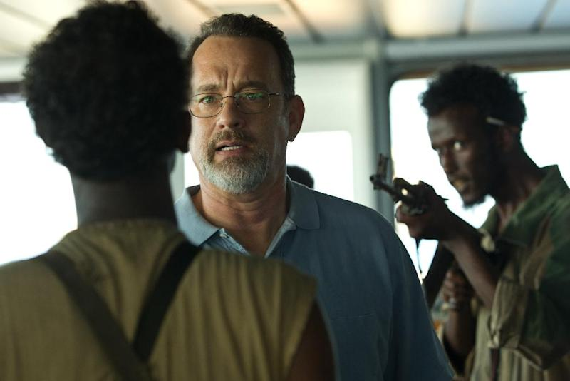"""This film image released by Sony - Columbia Pictures shows Tom Hanks, center, in """"Captain Phillips."""" (AP Photo/Sony - Columbia Pictures)"""