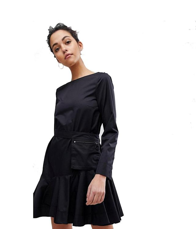 "<p>Sportmax Code Flippy Dress, $485, <a href=""http://us.asos.com/sportmax-code/sportmax-code-flippy-dress-with-utility-belt/prd/9049928?clr=black&SearchQuery=&cid=20262&gridcolumn=2&gridrow=2&gridsize=4&pge=1&pgesize=72&totalstyles=29"" rel=""nofollow noopener"" target=""_blank"" data-ylk=""slk:asos.com"" class=""link rapid-noclick-resp"">asos.com</a> </p>"