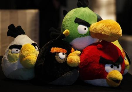 Angry Birds toys are displayed during a news conference in Hong Kong