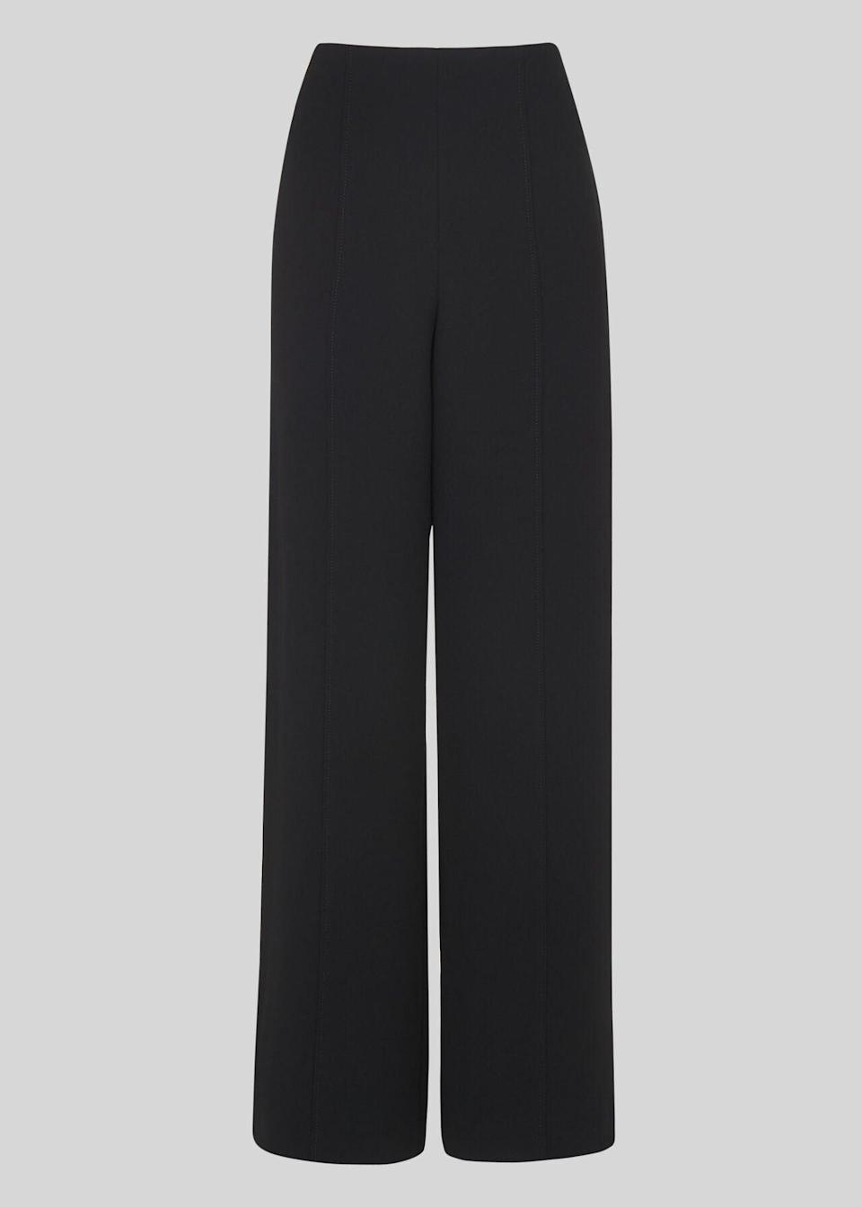 "<br><br><strong>Whistles</strong> Wide Leg Crepe Trouser, $, available at <a href=""https://www.whistles.com/product/wide-leg-crepe-trouser-31351.html#q=black%20trousrs&is=false&sz=60&start=0&isSecondPage=false&pid=wide-leg-crepe-trouser-31351&pos=35"" rel=""nofollow noopener"" target=""_blank"" data-ylk=""slk:Whistles"" class=""link rapid-noclick-resp"">Whistles</a>"